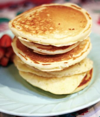 Classic Fluffy Pancakes are easy to make from scratch and can be frozen as a quick make ahead breakfast. pancakes | fluffy pancakes recipe | from scratch pancakes