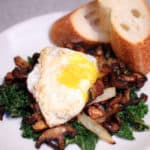Crispy Mushroom and Kale Salad is a warm, nutritious anti inflammatory flavor packed meal perfect for for breakfast, lunch or dinner! #kalesalad | #kale kale salad recipe | warm breakfast salad
