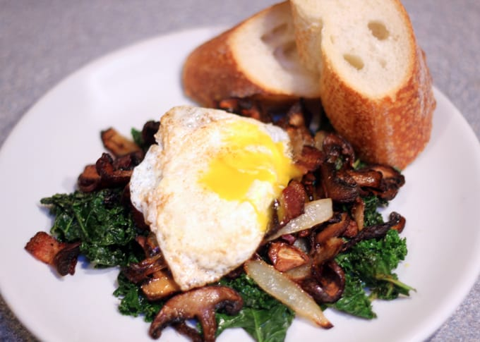 Crispy Mushroom and Kale Salad is a warm, nutritious anti inflammatory flavor packed meal perfect for for breakfast, lunch or dinner! #kalesalad   #kale kale salad recipe   warm breakfast salad