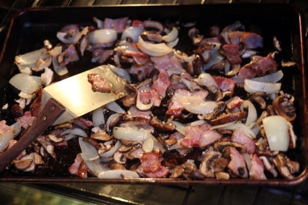 roast mushrooms and bacon until crispy