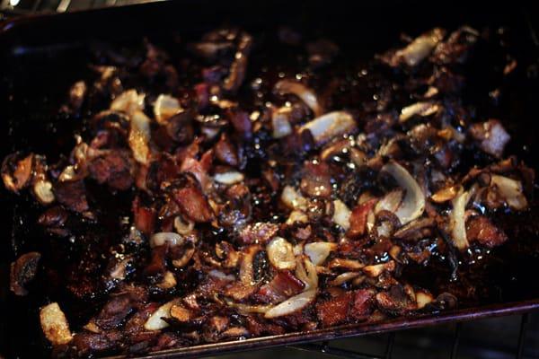 Crispy bacon and onions