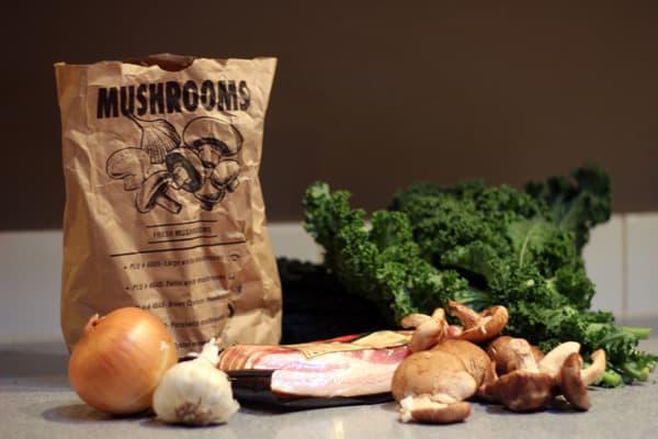Crispy Mushroom and Kale Salad ingredients