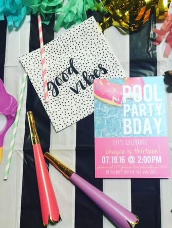 Free printable pool party invite.