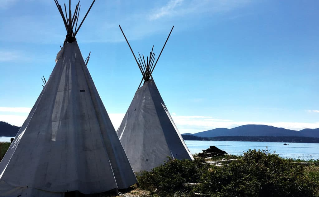 teepees on the beach at Camp Kirby, Samish Island, WA