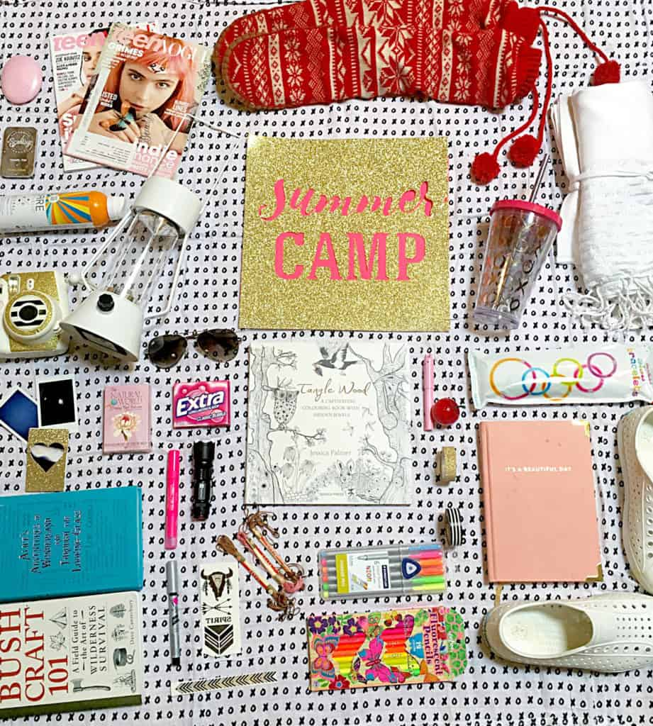 camp care package ideas flatlay