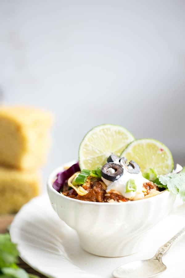 Classic American Beef and Bean Chili dinner meal idea buffet diy self serve dinner station cornbread