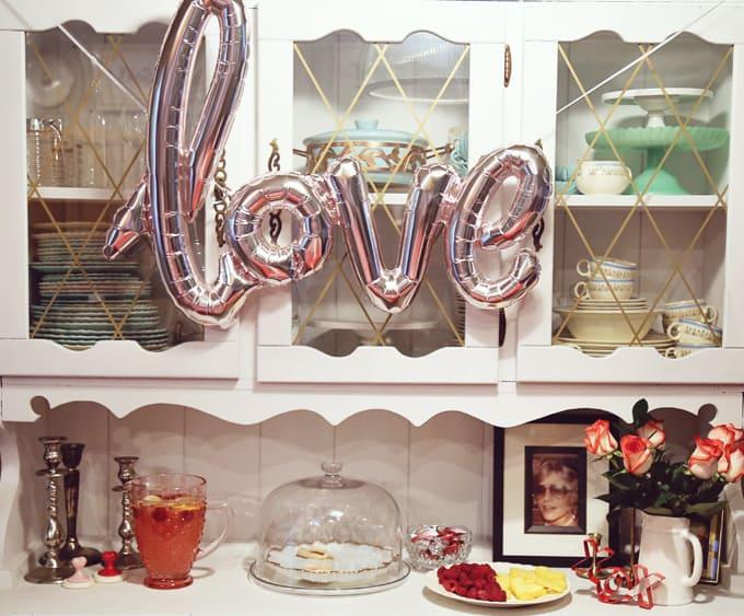 valentine's dessert spread with love balloon
