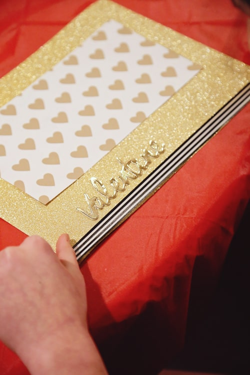 kids crafting homemade valentines