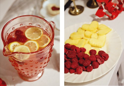 pink lemonade and fruit at valentines party