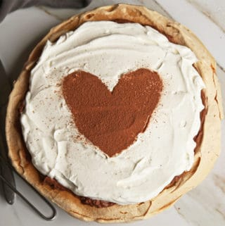 Chocolate Angel Pie | gluten free merinque crust | homemade chocolate mousse filling with whipped cream topping #pie #recipe #glutenfree