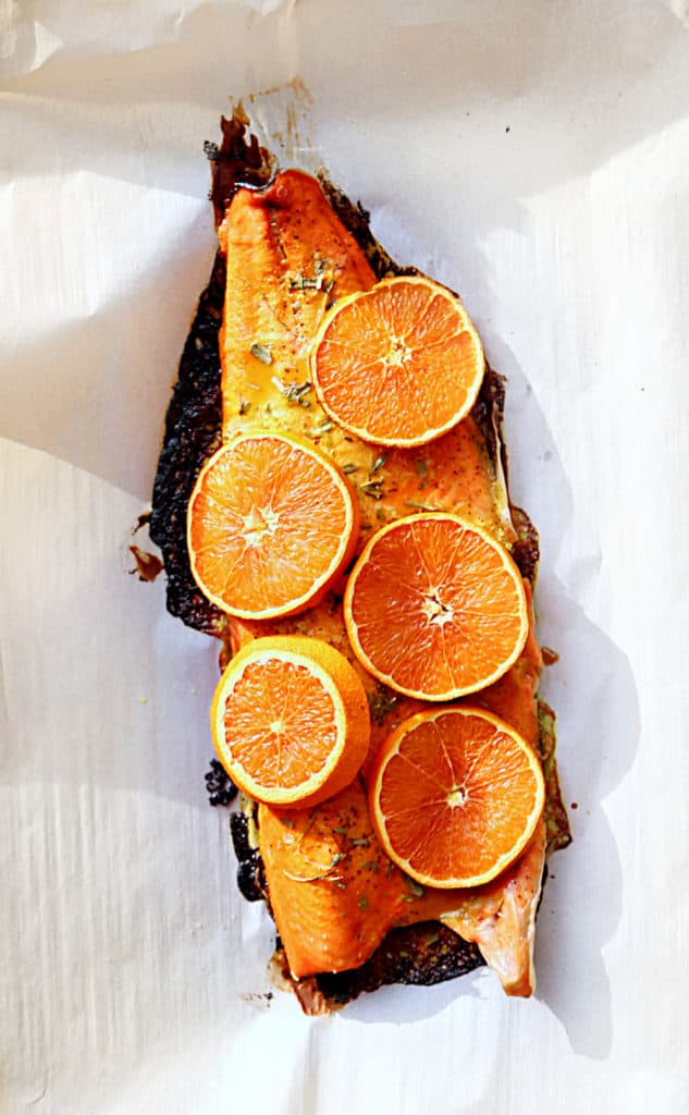 roasted glazed half salmon filet with orange
