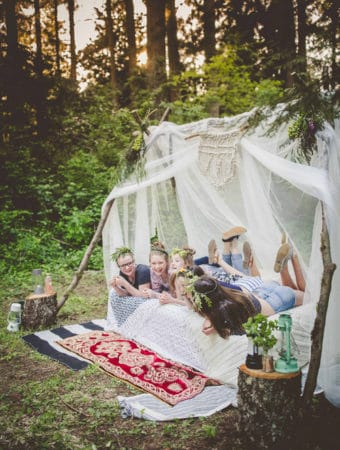 Festival Themed Camping Party is the perfect simple backyard party idea for a glamorous birthday, dinner, or overnight sleepover party that guests of all ages will enjoy!