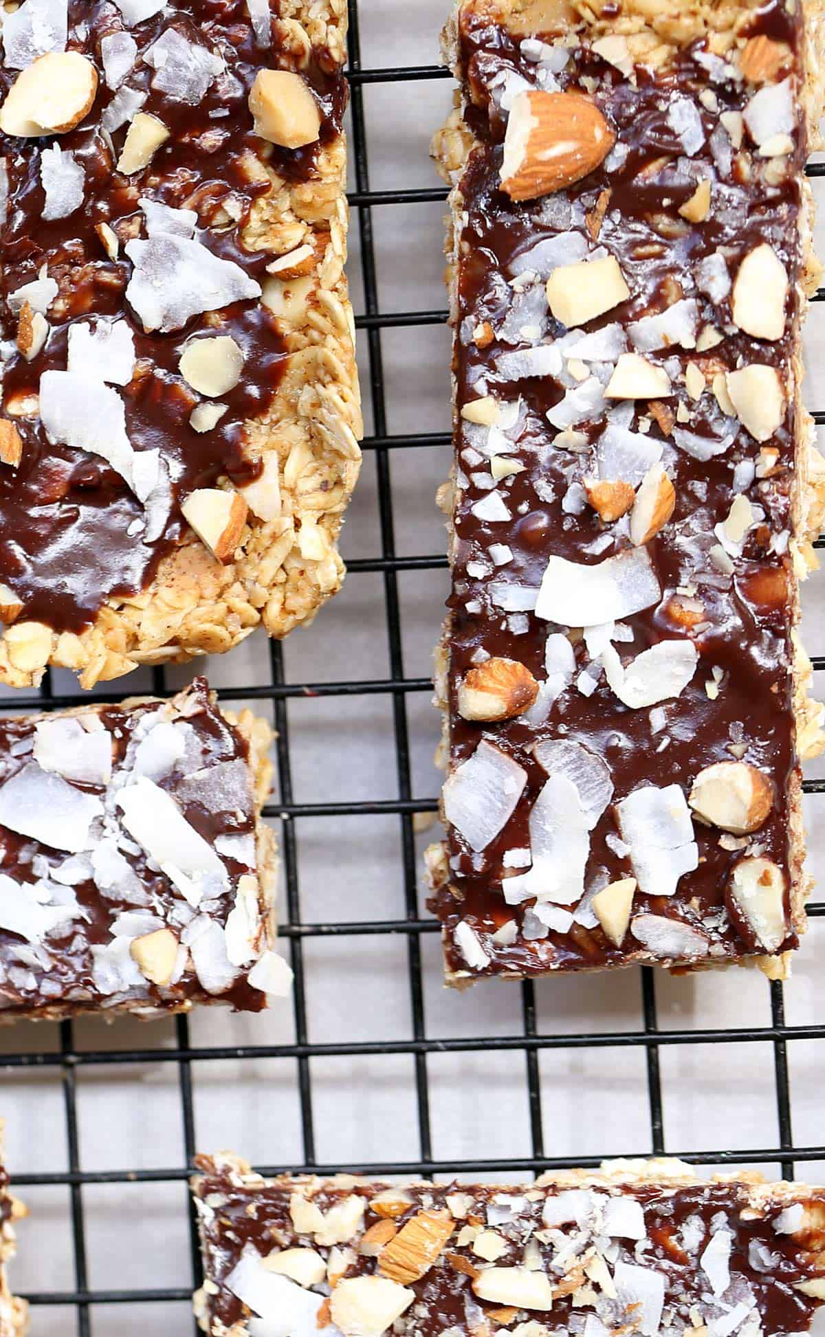 homemade granola bar with chocolate and nuts