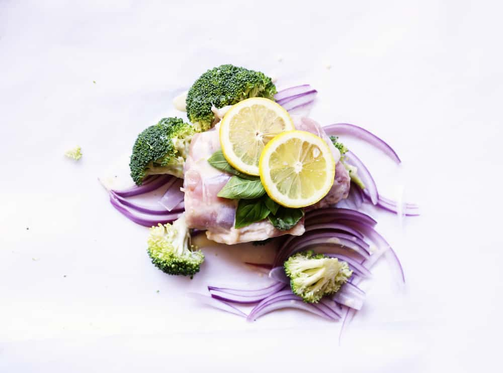 Lemon Chicken and Broccoli Foil Pack Dinner recipe | ONEarmedMAMA.com