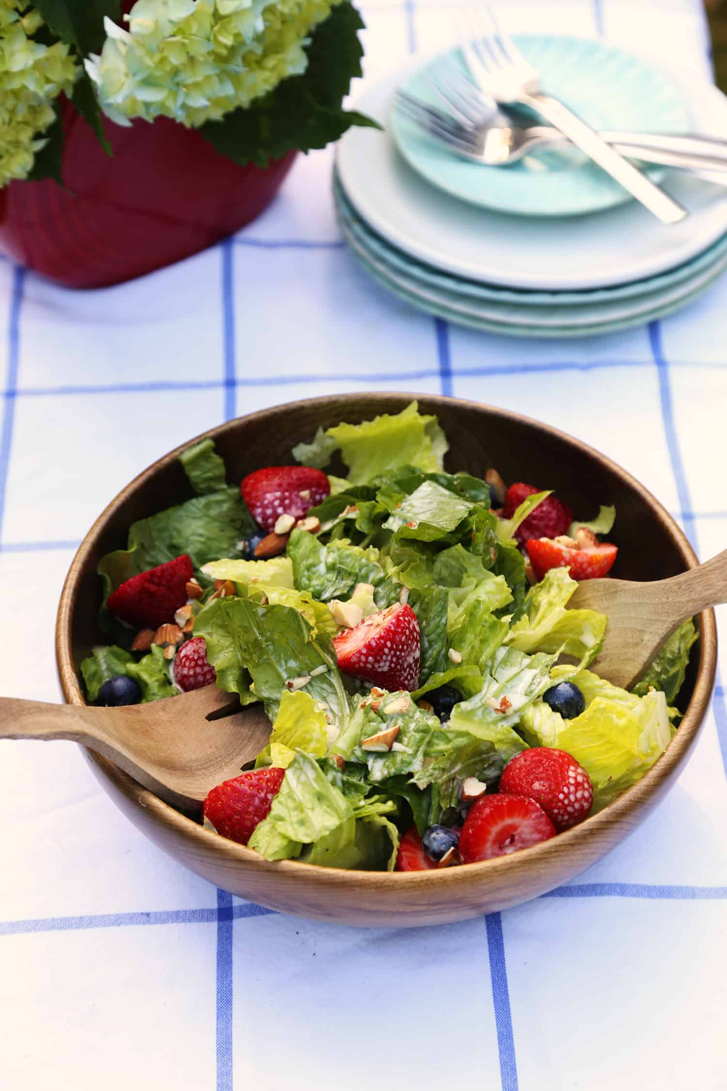 red white and blue salad for independance day or 4th of July