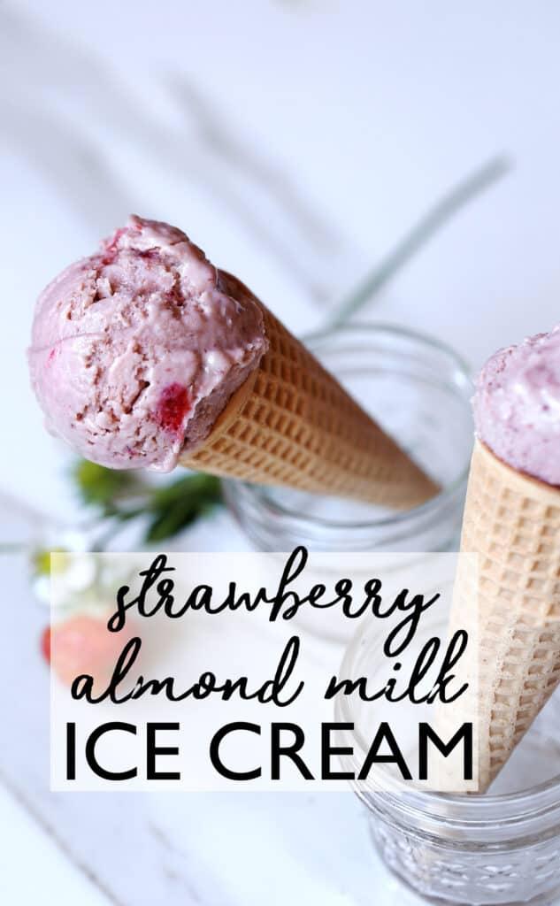 Strawberry Balsamic Almond Milk Ice Cream a delightful dairy free ice cream with almond milk custard and roasted balsamic strawberries. non dairy   homemade ice cream   dairy free dessert