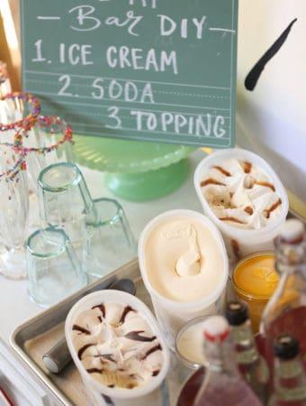 Ice Cream Float Bar DIY - #BlueBunny #SoHoppinGood #ad
