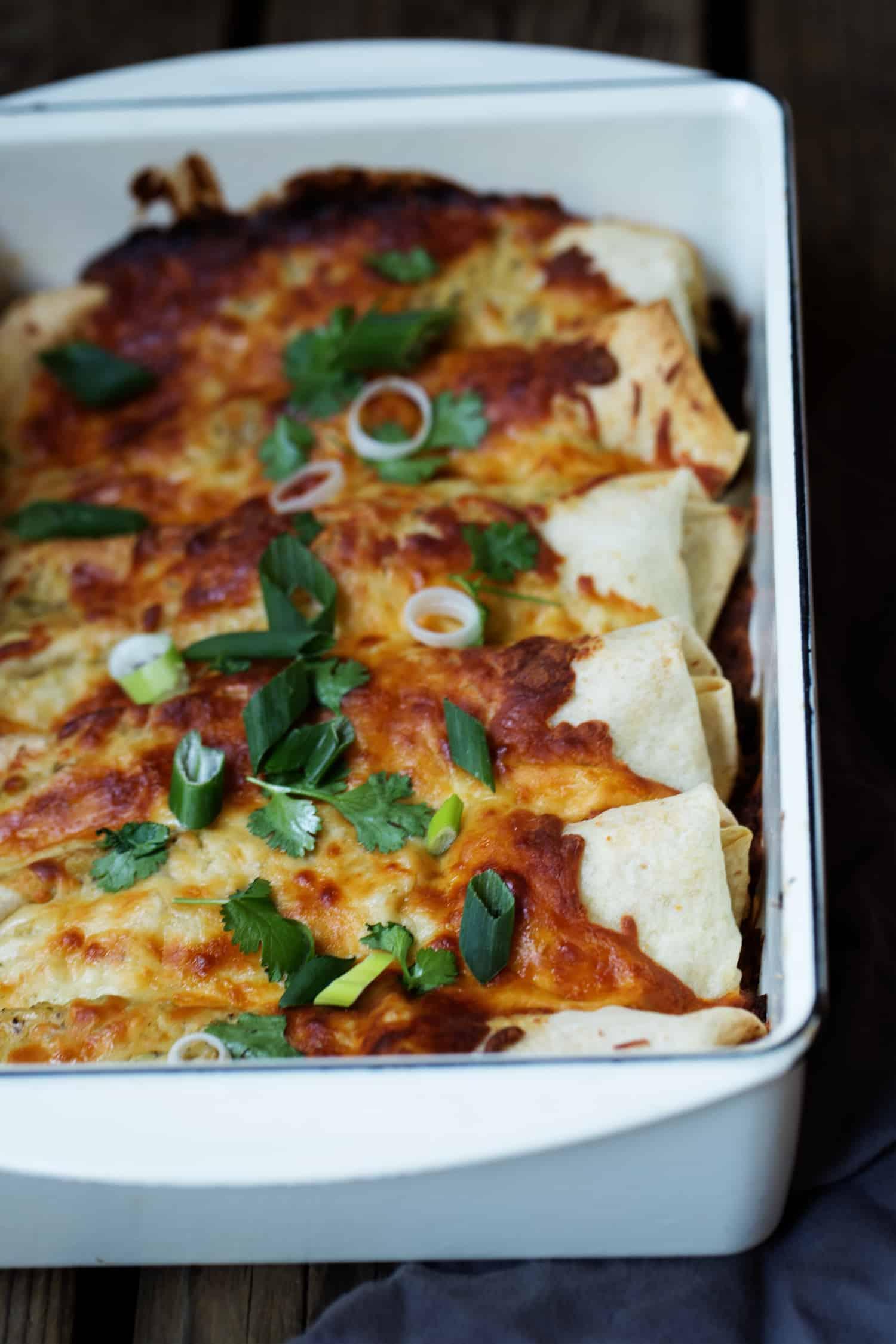 Creamy Chile Verde Chicken Enchiladas - easy meal for a crowd #MakeGameTimeSaucy #CollectiveBias