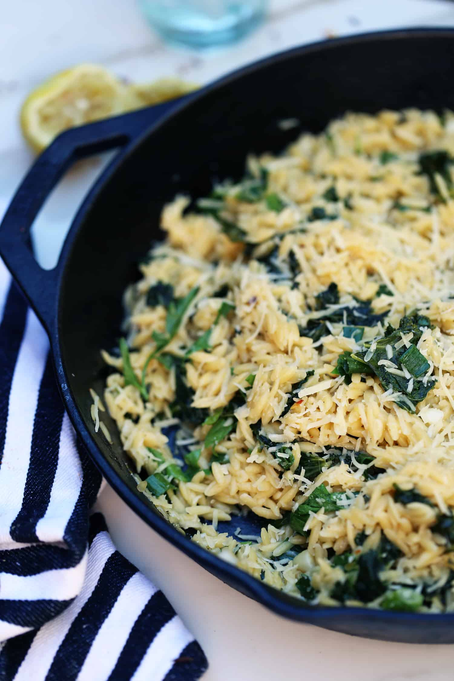 Lemon Kale Orzo Pilaf - hot or cold side pasta salad weeknight meal #EndlessPastabilities #ad