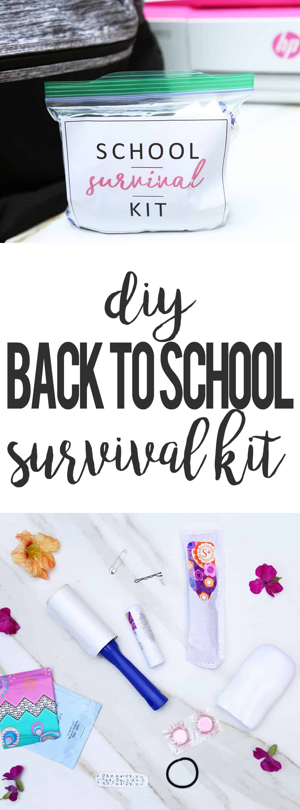 DIY SCHOOL SURVIVAL KIT | ONEARMEDMAMA.COM #CreateWithHP #ad