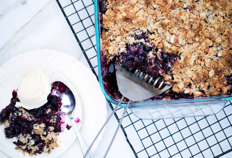 Blueberry Lemon Crisp with Almonds gluten free quick seasonal dessert pie cobbler