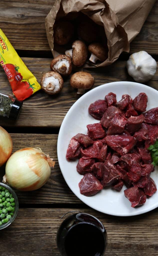 Braised beef stew ingredients