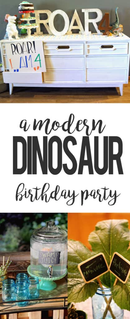 how to throw a modern dinosaur birthday party pinterest image