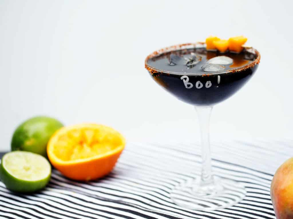 charcoal cocktail mango margarita lime halloween spooky