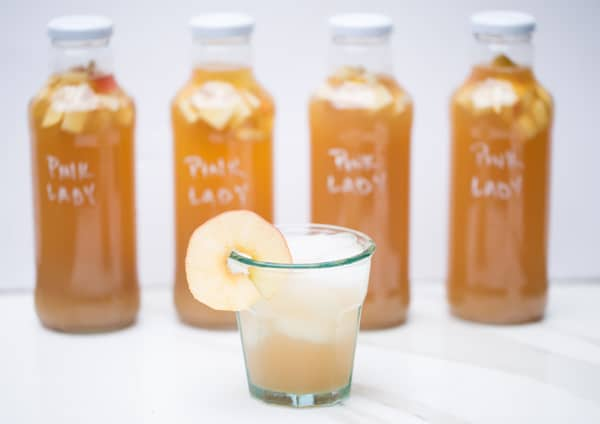 Pink Lady Apple Cider Kombucha recipe second fermentation homemade fall #SKSHarvest #SeasonalSolutions #ad