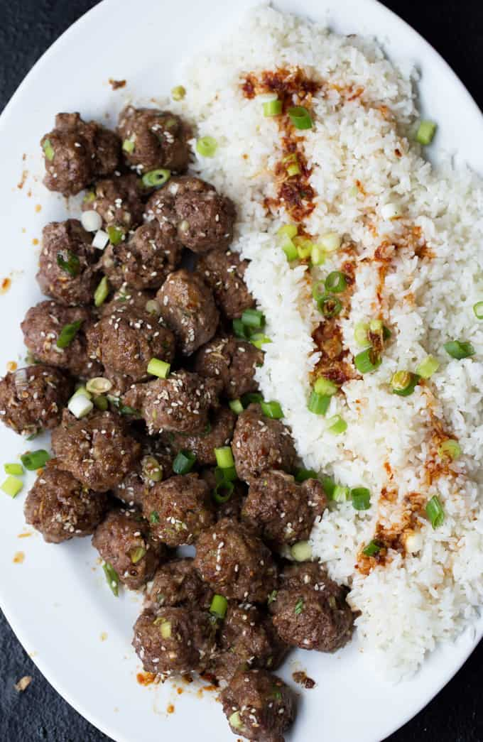 Serve these garlicky, sweet Sesame Soy Glazed Meatballs as a flavor packed appetizer or with steamed veggies and rice for a delicious, family-friendly meal.