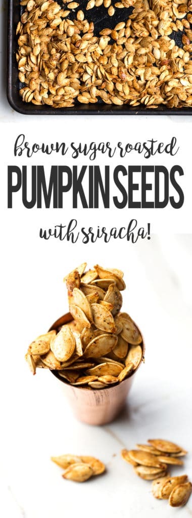 brown sugar roasted pumpkin seeds with sriracha from ONEarmedMAMA.com