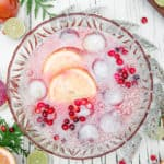 Cranberry Citrus Paloma Punch big batch cocktail for holiday parties fresh cranberry puree citrus ice cubes vintage tequila punch #ad