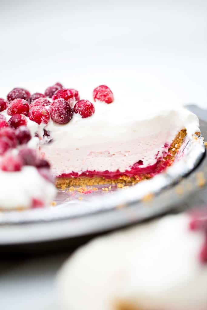 No Bake Cranberry Cream Pie fresh cranberry pie with layers of no bake cheesecake, whipped cream and sugar frosted cranberries