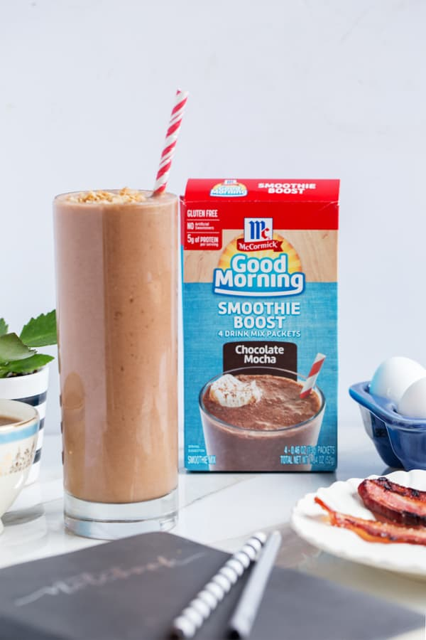 Monkey Mocha Smoothie | Chocolate Banana Coconut Smoothie | easy breakfast | Mocha Smoothie | #goodmorningbreakfast #ad