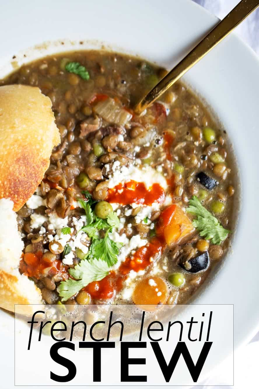 French lentil stew with good luck foods to bring prosperity in the new year!