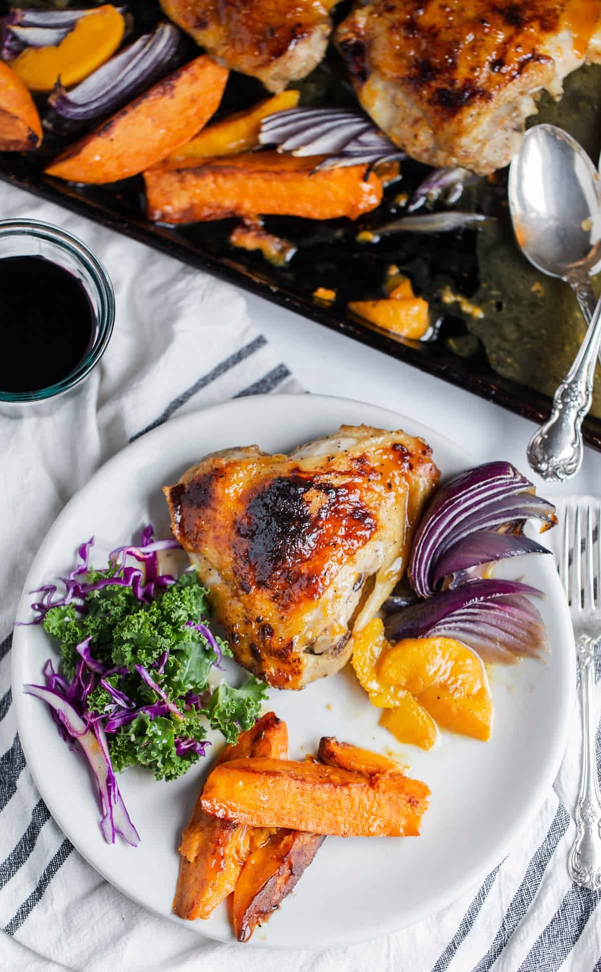 Baked chicken thigh sheet pan meal