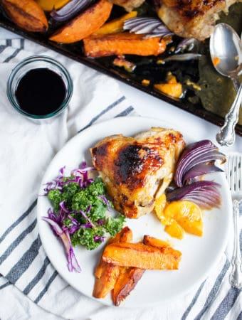 A well-rounded dinner of crispy skinned Sheet Pan Apricot Chicken and Sweet Potatoes can be on the table in less than 30 minutes with this foolproof method. Sheet Pan Dinner with Chicken