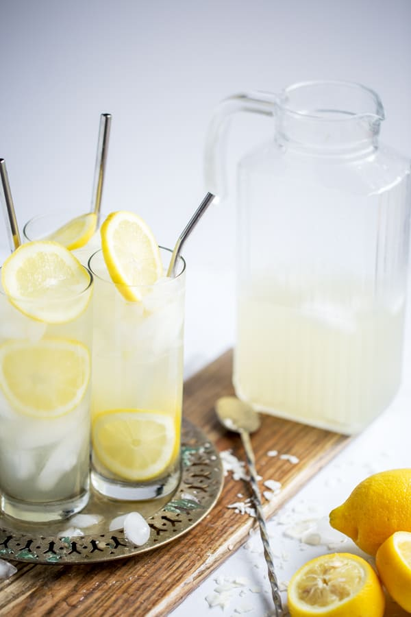 tray of refreshing coconut lemon sour and a party pitcher