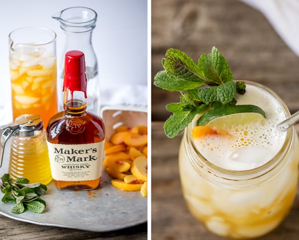 Fizzy Peach Tea Bourbon smash with lime wheel, peach slice and fresh mint alongside a tray of drink ingredients