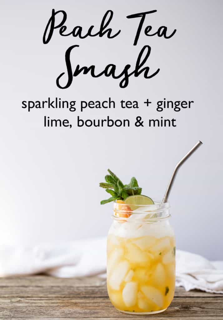 MSG 4 21+ #ad Peach Bourbon Smash whiskey cocktail perfect for entertaining. Father's Day, the Big Race, Run of Roses, your next picnic, BBQ or brunch Maker's Mark® bourbon shaken with fresh peach-infused black tea, ginger lime syrup, and muddled mint leaves. Topped with sparkling water and a peach slice this is lightly sweet, fizzy, flavorfull, fruity and bold drink. Recipe onearmedmama.com @1armedmama in partnership with @makersmark #CelebratorySips #MintJulepMonth #CollectiveBias