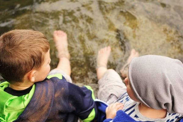 Kids with their feet in the water