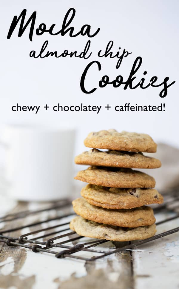 Chewy, soft and full of rich coffee flavor, crunchy almonds and melty chocolate. These caffeinated Mocha Almond Chip Cookies are as delicious as the ice cream flavor they're inspired by. Chewy chocolate chip cookies | mocha almond fudge | mocha cookies | coffee cookies