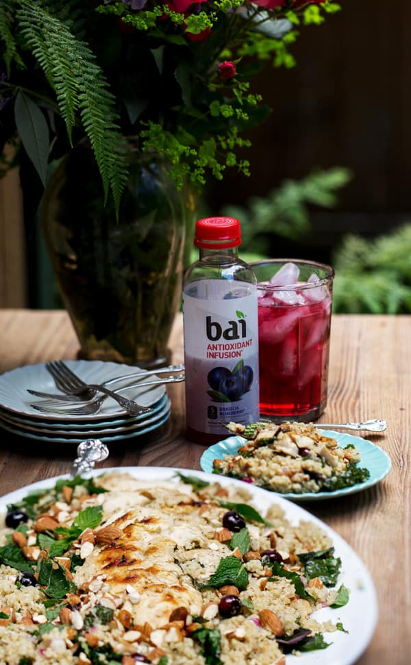 Blueberry Grilled Chicken Quinoa Salad with torn kale, fresh blueberries and homemade Blueberry Marinade and Dressing made with Brasilia Blueberry Bai for a quick kick of fresh juicy flavor and antioxidants! @DrinkBai #FlavorLife #ad quinoa salad for summer | quinoa salad for lunch | quinoa salad with fruit | quinoa salad easy recipes