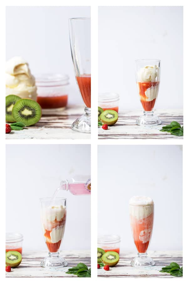 Sweet, refreshing and completely decadent you would never believe this Strawberry Kiwi Ice Cream Float is made completely without soda! #GetFizzy @SparklingIce #ad soda replacement | fruit floats | fruity ice cream float