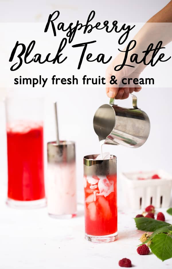 Fresh juicy berries infused into sweet black tea make beautiful jewel toned tea that combined with a splash of cream turn into a light pink Raspberry Infused Iced Black Tea Latte that is full of flavor and super refreshing! Iced Tea Recipe   Fruit Infused Iced Tea   Raspberry Tea   Real Fruit Flavored Tea #icedtea #raspberry #tealatte
