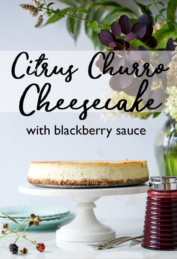 Citrus Churro Cheesecake with Blackberry Sauce has all the luscious creaminess of traditional cheesecake without being too rich thanks to the addition of a generous amount of bright citrus! blackberry lime syrup | blackberry syrup | fresh berry sauce #lemon #lime #blackberry #cheesecake #churro #citrus