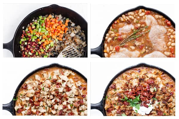White Bean Braised Skillet Chicken topped with homemade Sourdough Bacon Croutons is a quick comforting meal – perfect for weeknights! Skillet chicken recipes   boneless chicken breast   cast iron   stovetop   for dinner   white bean recipes   @Safeway #ad