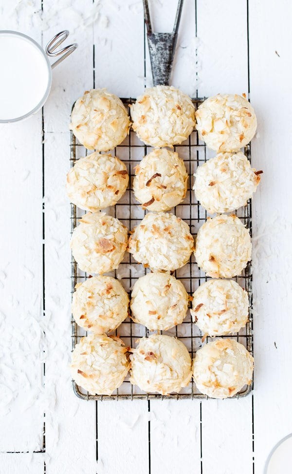 These Chewy Coconut Cookies are perfect for the holidays or anytime of year! coconut cookie recipe | coconut cookies recipe | martha stewart chewy butter cookies | coconut macaroons
