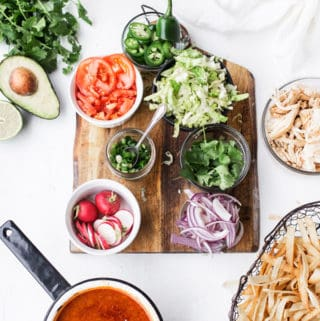 With the stock, protein, starch and toppings all offered separately this DIY Chicken Tortilla Soup was made for serving a crowd! Chicken tortilla soup | easy family dinner soup recipes | dinners for kids | how to make homemade soup #ad @Swanson