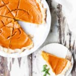 Brown Sugar Roasted Caramelized Carrot Pie may be unconventional on your dessert table but this absolutely delicious pie has amazing flavor and is perfect for Spring! carrot recipes | carrot pie recipe | Easter dessert